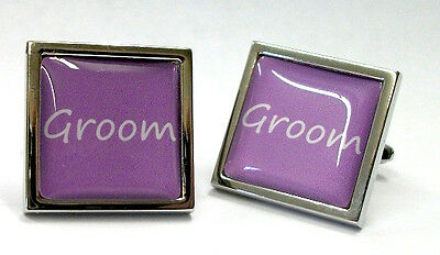 Rich Purple Wedding Text Cufflinks with FREE Organza Pouch - 18 TITLES