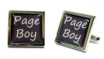 Slate Grey Wedding Text Cufflinks & Pouch - 18 TITLES Free UK Postage