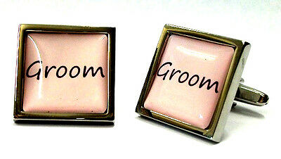 Pastel Pink Wedding Text Cufflinks & Pouch - 18 TITLES Free UK Postage