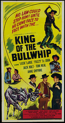 "King of the Bullwhip (1950) ""Lash"" Larue Cult Western movie poster 19x36 inches"