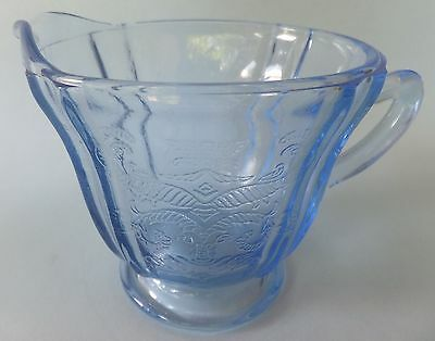 Federal Glass Co Madrid Blue 1 Footed Creamer Madonna Depression Cobalt Blue