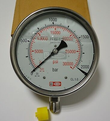 High Pressure Gauge Dual Scale 0-2000 BAR /0-30000 PSI Ideal for Common Rail