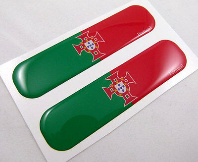 "Portugal Portugese Flag Domed Decal Emblem Car Flexible Sticker 5""Set of2"