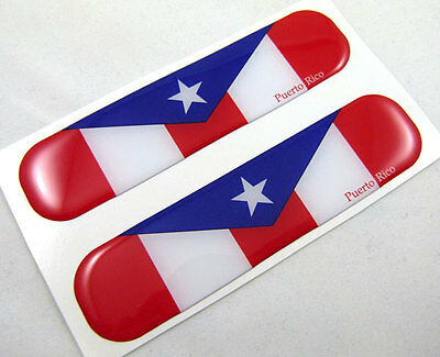 "Puerto Rico Flag Domed Decal Puerto Rican Emblem Car Flexible Sticker 5""Set of2"