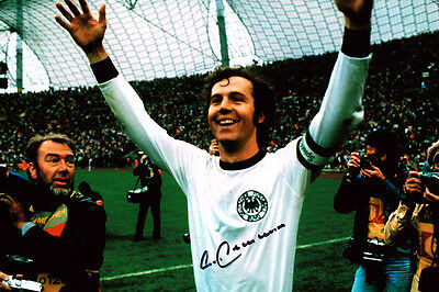Franz Beckenbauer HAND SIGNED Autograph 12x8 Photo AFTAL COA Germany World Cup