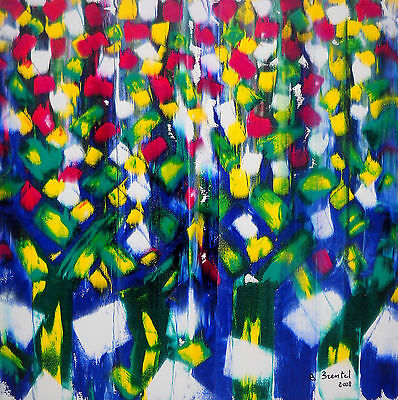 2008 A Brentel FLOWERING Contemporary Art Painting 80x80 (Oil on Canvas)