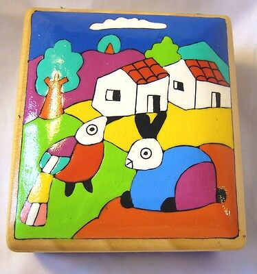 Handpainted Bunny Bird Wood TRINKET JEWELRY TREASURE BOX Leather Hinges