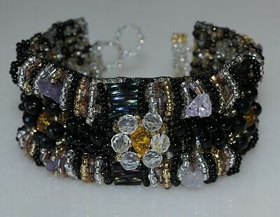 Guatemala Bracelet Beaded Womens Hand Crafted Maya black gold NEW