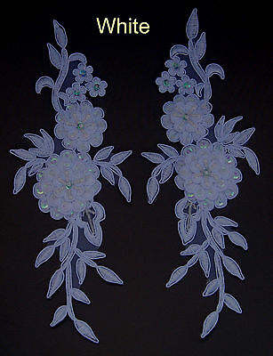 2 Pieces Embroidered Venise Lace Flowers Applique Trim Motifs Colour: White #2