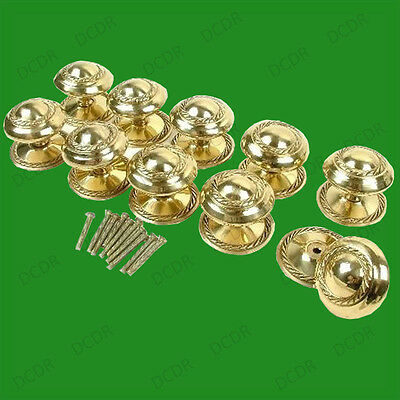 10x 50mm Georgian Solid Brass Cabinet, Cupboard, Drawer Furniture Door Knobs NEW