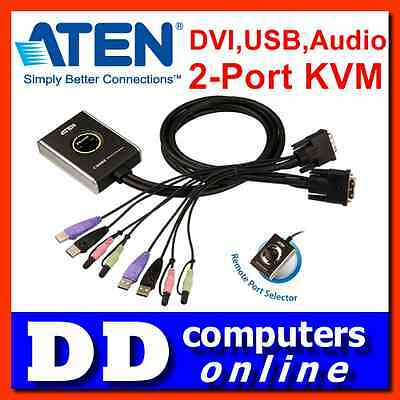 Aten CS-682 Petite 2 Port USB DVI KVM Switch with Audio, remote button, Cables