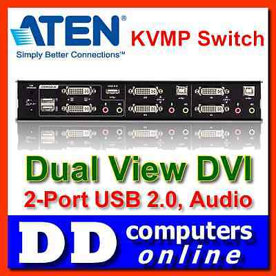 ATEN 2 Port USB2.0 Dual-View DVI KVMP Switch with 2.1 Audio CS-1642, w/ Cables