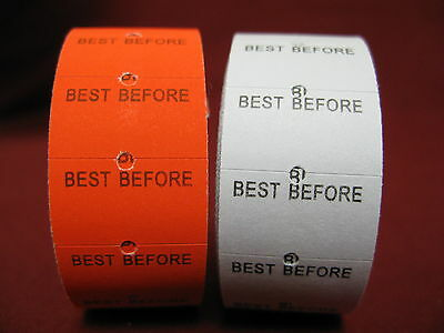 """best Before""  Preprinted Labels And Ink Rolls"