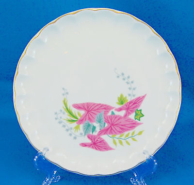W S George PINK CALADIUMS B8761 Bread and Butter Plate 6.5 in. Leaves Scalloped
