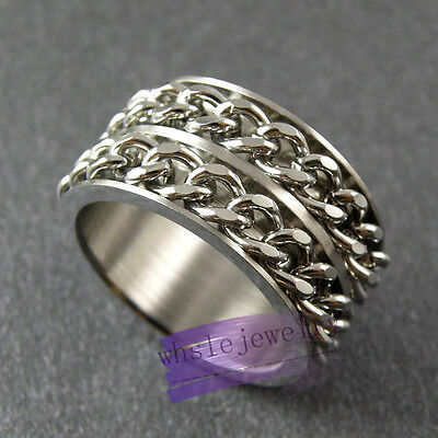Wholesale Lots 12pcs Double Chain Spinning Rings 316L Stainless Steel Jewelry