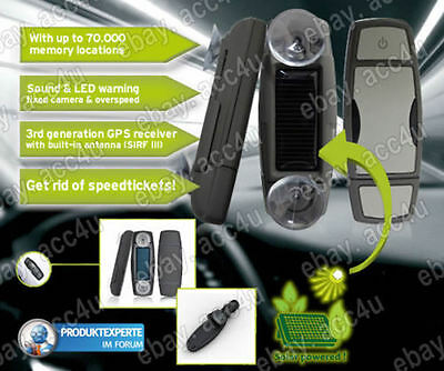 Mr Handsfree Spy Car Solar Powered GPS Europe Speed Camera Detector Warning