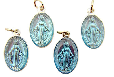Set of 4 Blue Enameled Petite Miraculous Mary Medal Pendant from Italy