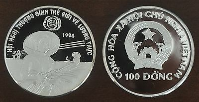 VIETNAM -PROOF SILVER 100 DONG COIN 1996 YEAR 50th ANNI FAO KM#50 MIRROR SURFACE