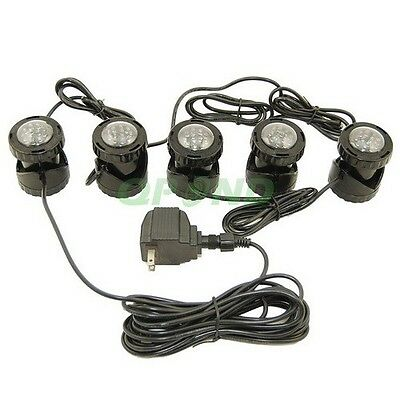 Submersible 5 Led Pond Light Set For Underwater Fountain Fish Pond Water Garden