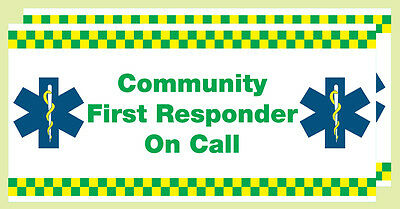 COMMUNITY  FIRST RESPONDER ON CALL VECHICLE WINDOW STICKER  x 2