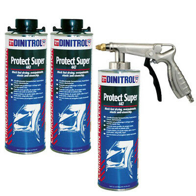 3 x DINITROL 447 BLACK STONE CHIP RUST PROOFING 1 LITRE WHEEL ARCHES + SPRAYGUN