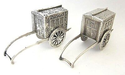 Antique Japanese Sterling Silver 950 Figural WAGON  Salt & Pepper Shakers