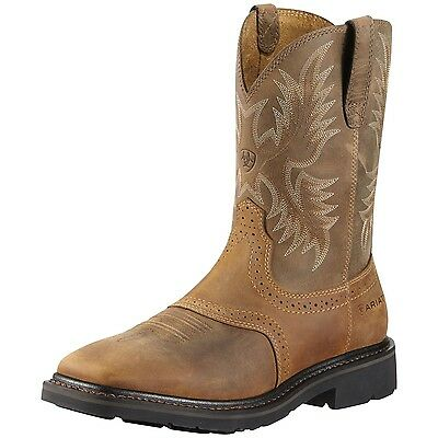 Ariat Mens Sierra Wide Square Toe Cowboy Work Boot Aged Bark 10010148