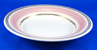 American Limoges Candle Light LYCEUM ROSE Rim Soup Bowl 8.125 in. USA Pink Gold