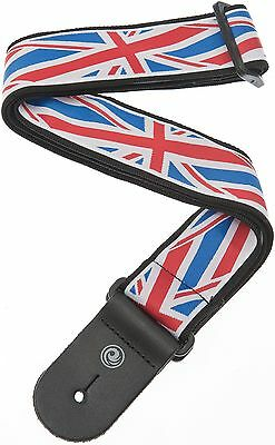 Planet Waves 50A11 Union Jack Guitar Strap With Leather Ends - Brand New!