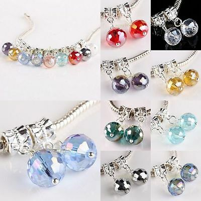 Round Faceted AB Crystal Glass Dangle 10mm Ball Charm Beads Finding Fit Bracelet