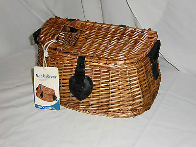Willow Wicker Fish Creel W/ Strap Wood Natural Fly Fishing Decoration Basket