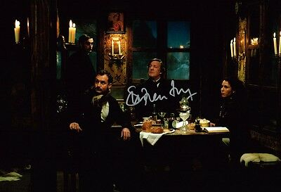 Stephen Fry HAND SIGNED Autograph 12x8 Photo in Sherlock Holmes Movie AFTAL COA