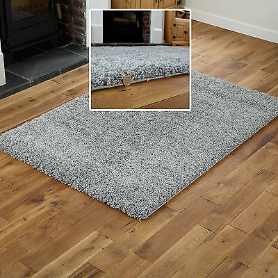 Quality Shaggy - Thick 5Cm High Pile Modern Silver Grey Non-Shed Small Large Rug