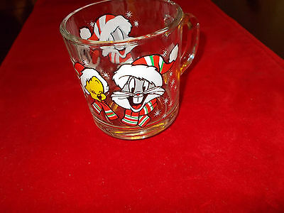 Looney Tunes  Clear Glass Holiday Mug, Features Tweety, Bugs, Sylvester