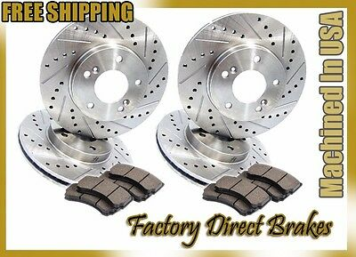 Front & Rear All 4 Drilled & Slotted Brake Rotors & Ceramic Brake Pads 5 LUGS!!!