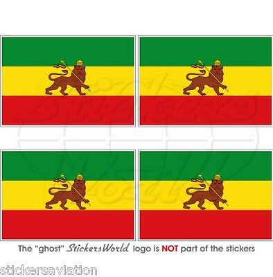 "ETHIOPIA Former Ethiopian Lion of Judah Flag 50mm (2"") Vinyl Stickers, Decals x4"