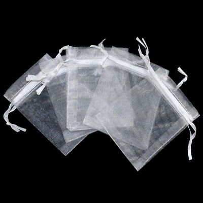 PLE - 40 X White Jewellery Organza Pouches Bags for Wedding Part Small Gift