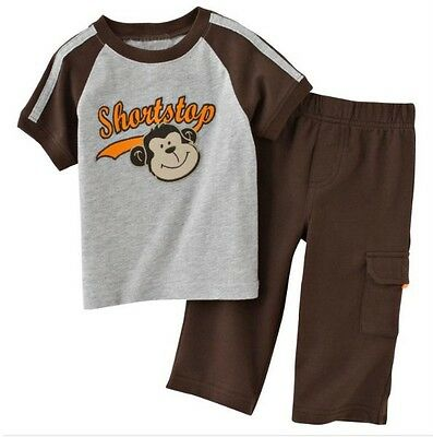Boy Carter's Top and Pants Set -- Brown / Grey