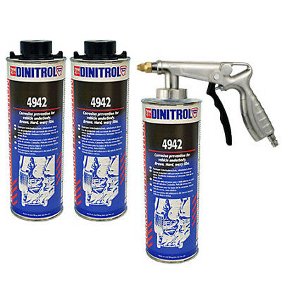 3 x DINITROL 4942 UNDERBODY CHASSIS RUST PROOFING BROWN WAX 1 LITRE + SPRAYGUN