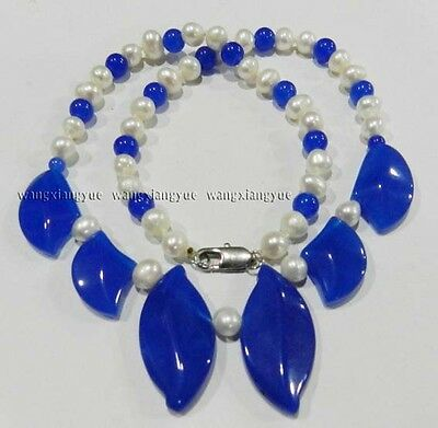 """White Akoya Cultured Pearl & Sapphire Beads Necklace 18"""""""