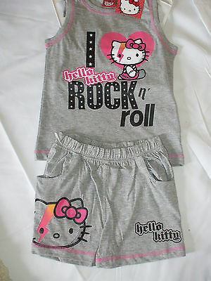 Hello Kitty, Top And Shorts Set, Bnwt,  4Years   Grey