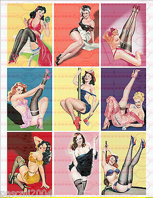 9 x  Pin Up Retro Girls Vintage Nostalgie Bügelbilder Pin Up`s auf A4 Transfer 1