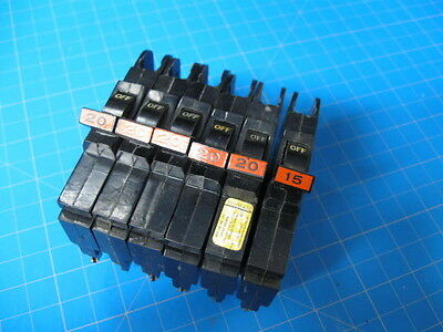 "6 - Federal Pacific Stab-Lok Breakers 1/2"" thin type NC - 15 & 20 AMP GUARANTEED"