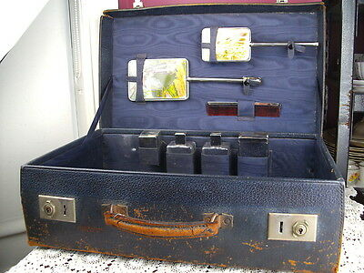 Vintage Leather Lady's Travel Vanity Case With Original Bottles + Brushes