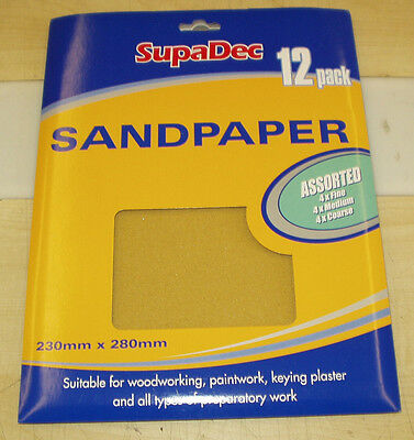 New SupaDec Assorted Sandpaper - Pack of 12