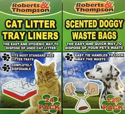 Pet Dogs Doggy Waste Poo Clean Up Disposal Bags Cat Litters Tray Liners Supplies