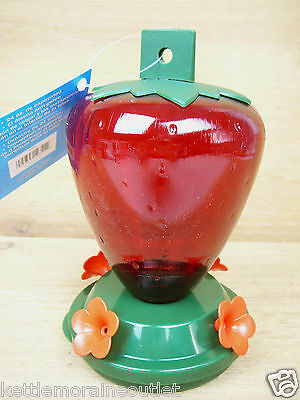 Art Line Hanging Strawberry Hummingbird Feeder 24oz 4 Feeding Ports #5555