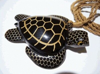 Hawaiian Hawaii Jewelry Buffalo Bone Turtle Necklace Brown Cord # 35009