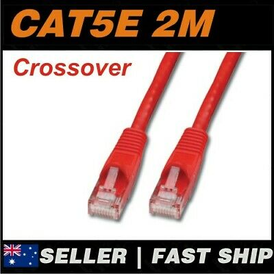 1x 2m Cat5E Crossover Red  Ethernet Network LAN Patch Cable Lead