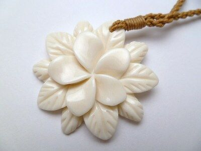 Hawaii Jewelry Flower Buffalo Bone Carved Pendant Necklace/Choker # 35374
